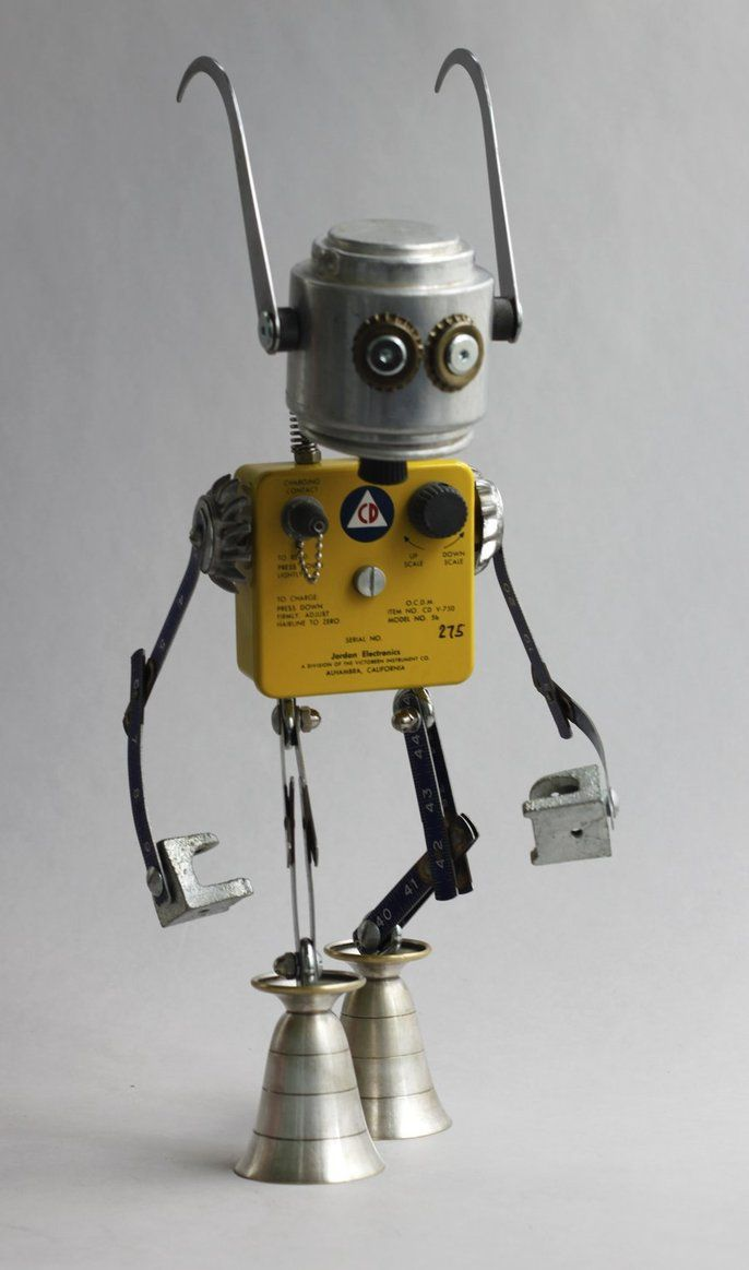 robot made of found objects