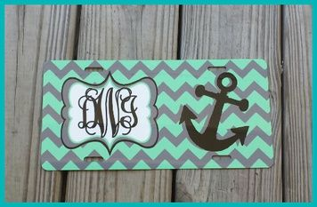 Mint/gray chevron car tag accented with black anchor/frame...Vine black monogram