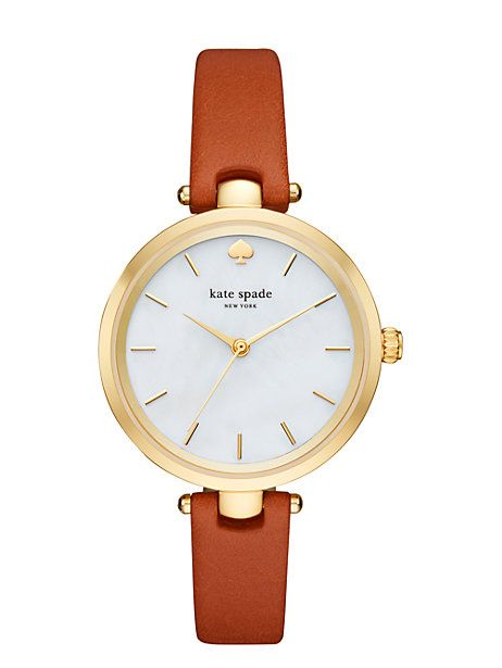 Kate Spade Holland Skinny Strap Watch, Luggage/Gold