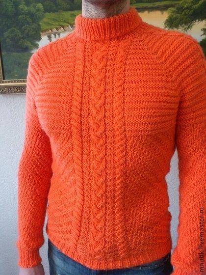 мужской свитер - рыжий,однотонный,свитер мужской,свитер вязаный,вязание спицами