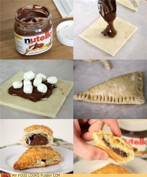 nutella: Desserts, Food Ideas, Heart Shape, Recipes, Puff Pastries, Yummy, Marshmallows, Crescents Rolls, Nutella