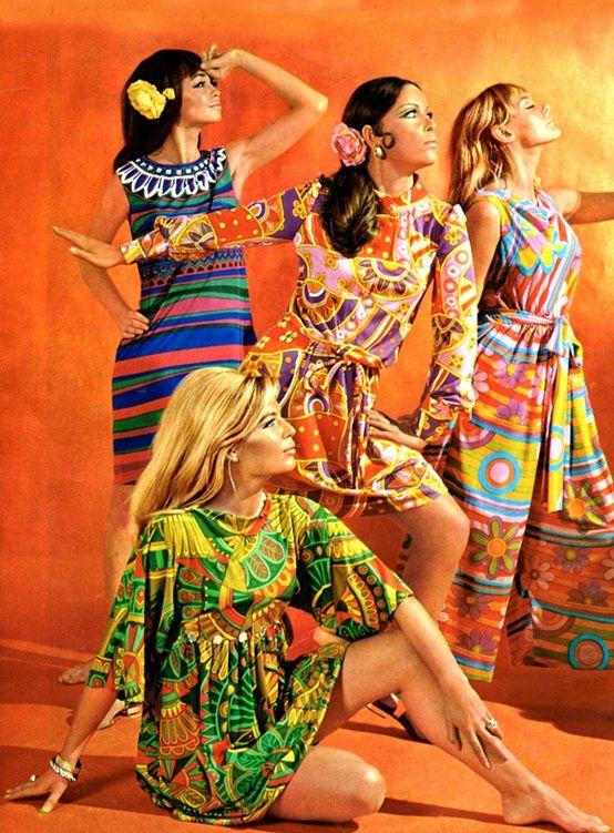 1960s Fashion - vintage dresses   #Sixties 60s print ad wild colors shift dress maxi day dress stripes floral