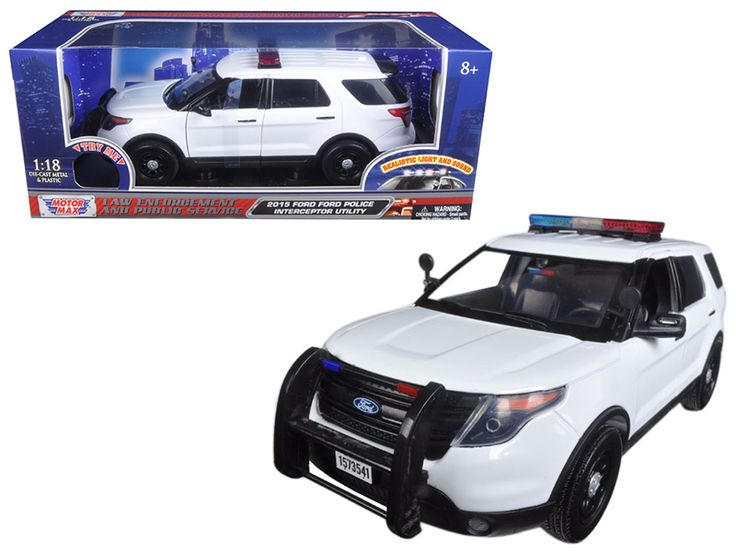2015 Ford Police Interceptor Utility White with Flashing Light Bar, Front and Rear Lights and 2 Sounds 1/18 Diecast Model Car by Motormax - Brand new 1:18 scale diecast model of 2015 Ford Police Interceptor Utility White with Flashing Light Bar, Front and Rear Lights and 2 Sounds die cast car model by Motormax. Has two sounds. When pressing the button once you hear one sound, when pressing it again you can hear another sound. Brand new box. Rubber tires. Has steerable wheels. Has opening…