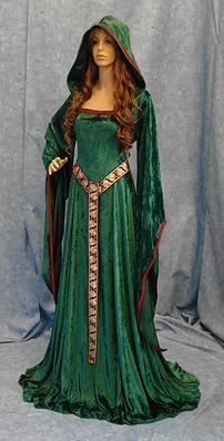 Green hooded dress of celtic design