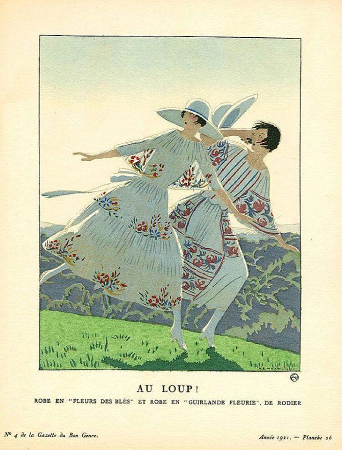 """Andre Edouard Marty - Au loup! - Robe en """"fleurs de blé"""" et robe en """"guirlande fleurie"""" de Rodier - 1921"""