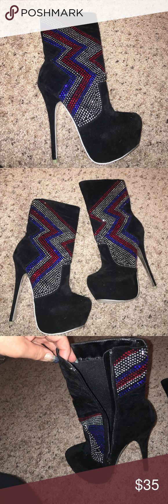 BAD AZZ BOOTS ⚡️ Black suede material all over red white and blue jewels .  Zipper on sides as shown in picture . Very very comfortable . 6 inch heel . Size 7 . Never worn before . Great for clubbing and dancers . Shoes Heeled Boots