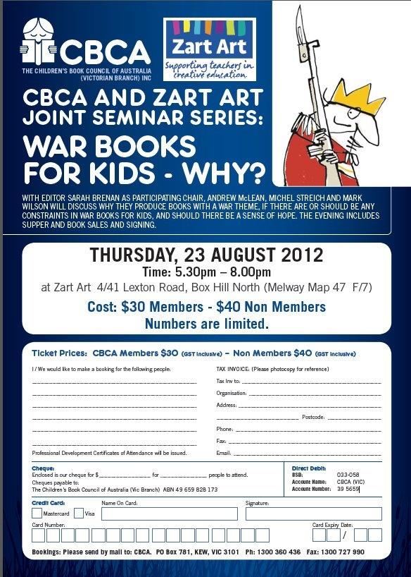 CBCA and Zart Art Authors and Illustrators talk Thursday 23 August.