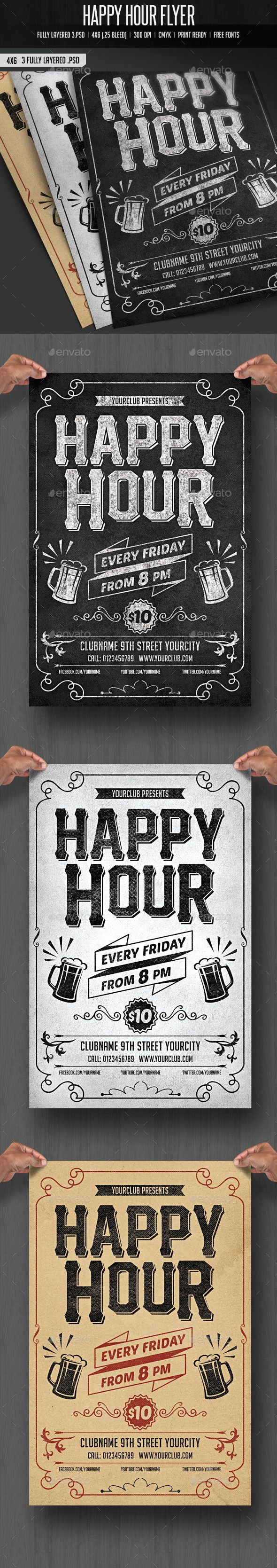 Happy Hour Flyer - Clubs & Parties Events                              …