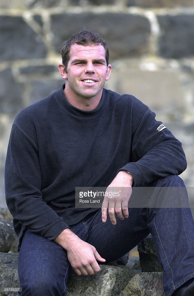 Anton Oliver at a press conference in Dunedin after being named new All Black captain to take the team through to the 2003 Rugby World Cup.