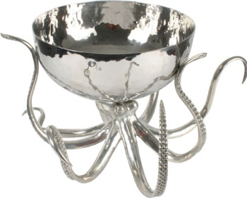 Huge Hammered Steel and Pewter Octopus Punch Bowl Ice Tub - Statement Piece, www.vbelle.com, $2,600