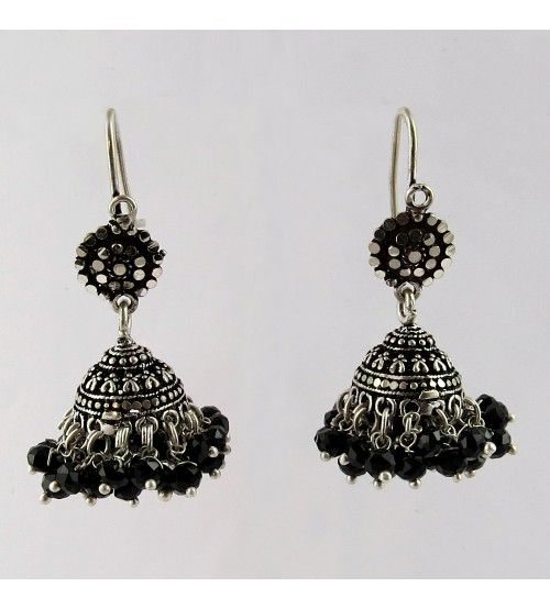 Marcasite Gemstone Black Onyx 925 Sterling Silver Earring, Weight: 11.2 g, Stone - Black Onyx, CZ, Size - 4.4 x 2.0 cm, Wholesale Orders Acceptable, All Pieces have 925 Stamp