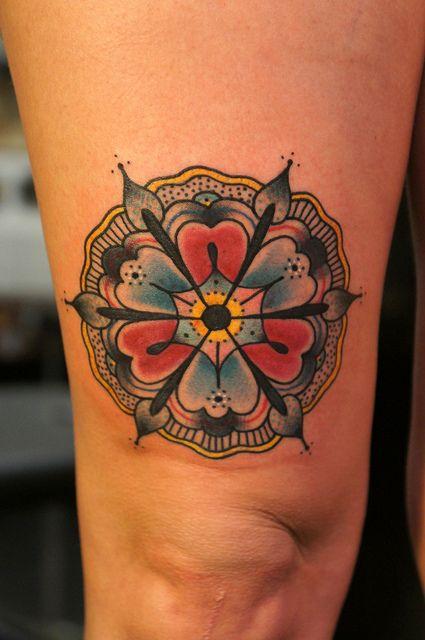 mandala flower // traditional tattoo by elisa.jolie, via Flickr