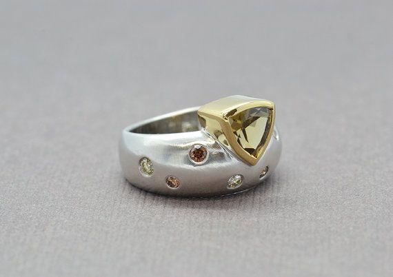 Golden Zircon Ring Colour Diamond Ring White by SuttonSmithworks