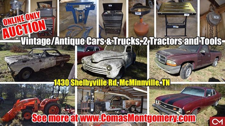 ONLINE ONLY AUCTION featuring Vintage/Antique Cars & Trucks Plus 2 Tractors & Tools 1430 Shelbyville Road McMinnville Tennessee Selling for the Harris Family.  BID NOW ONLINE ONLY Until Sunday February 25th 2018 @ 8:00 PM.  CLICK HERE TO VIEW MORE: https://www.comasmontgomery.com/project/details/21917/  Kubota 2013 Tractor 1970 Road Runner - Super Bird Chevy 454 Big Block Engine 1953 Chevy H53 Pickup Ford Ranger Misc. Shop Tools and MORE!  PREVIEW: Sunday February 25th from 1-2 PM.  #vintage…