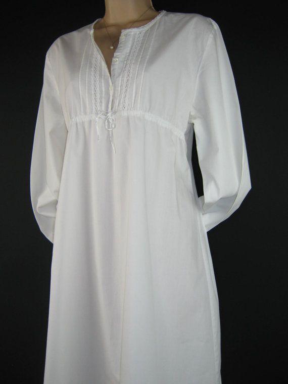 LAURA ASHLEY Vintage White Victorian / Edwardian Style Nightgown / Nightdress, Medium