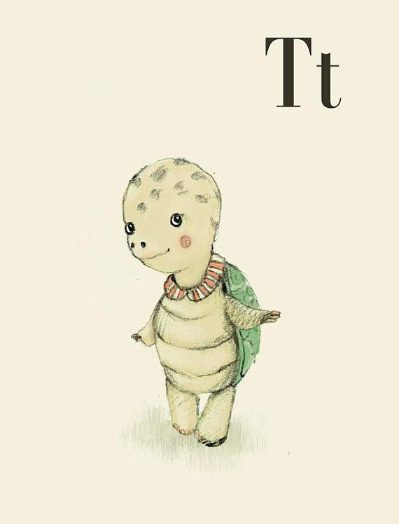 T for Turtle - Alphabet art - Alphabet print - ABC wall art - ABC print - Nursery art - Nursery decor - Kids room decor - Children's art
