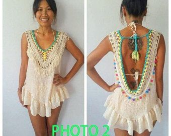 Handmade Macrame blouse/ Boho crochet open back top/Beach Clothing/Bikini Cover up/Boho Fringe Crochet Top 5 colors.