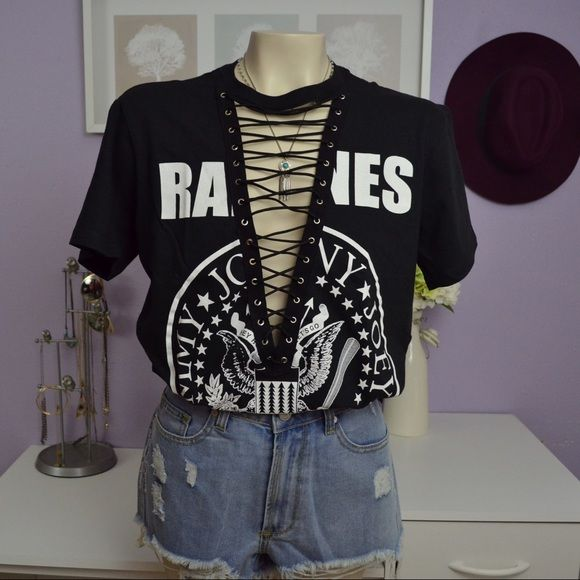 $65 MEDIUM Ramones lace up tee Made by myself not LF LF Tops Tees - Short Sleeve