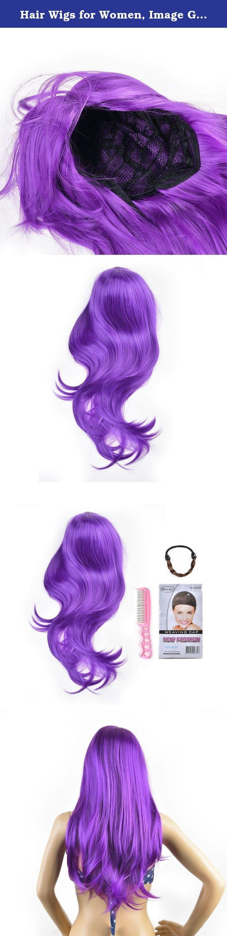 Hair Wigs for Women, Image Gradient Color Hair Extensions, Long Full Curly Wavy Glamour Purple Wig with Wig Cap, Wig Comb and Rubber Band. IMAGE - Bring Your Beauty Salon Home! IMAGE Wigs - New Wigs, New Feelings, New You! What's the difference between IMAGE WIG and the others: (1) we adopted 100% Matt high temperature fiber which is the best fiber material for wig. Its physical properties, appearance, color and natural. (2) The wave and curls of the hair are specially designed to look...