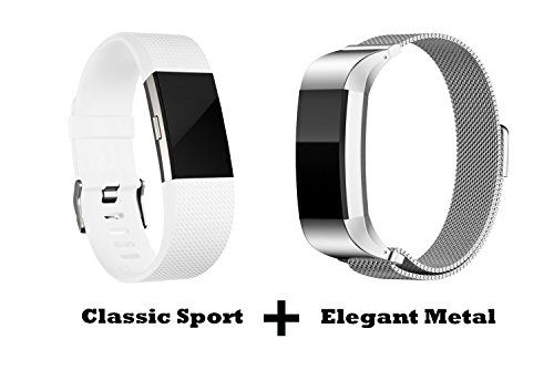Humenn Fitbit Charge 2 Accessories Bands Sport and Metal Replacement Bands Pack for New 2016 Fitbit Charge HR 2 Large White Sport Band and Silver Metal Band ** Offer can be found by clicking the VISIT button