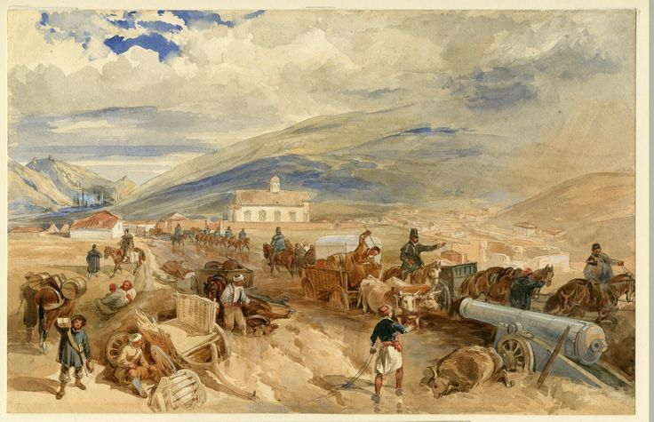Ottoman guns on the move at Sevastopol, Crimean War