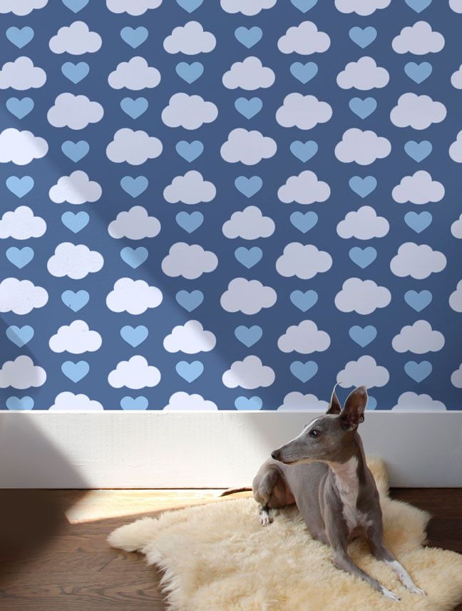 Loveclouds Wallpaper in Prep for Kids | Nursery | Children's Spaces