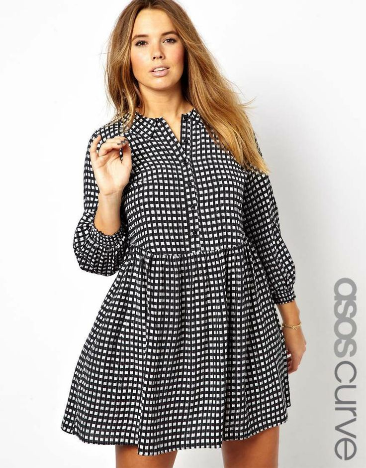 Women's ASOS Curve Smock Dress in Check Black White Size