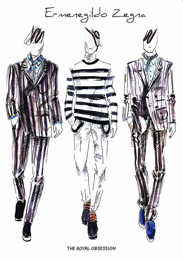 Ermenegildo Zegna Menswear Spring 2015. Fashion Illustration by Doryanna Popa.