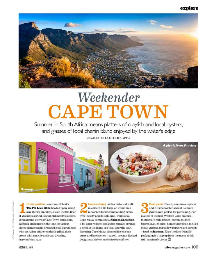 CAPE TOWN FOOD GUIDE 10 of the best spots to eat and drink the Cape Town for Olive Magazine UK. It's a glorious place to feast in summer...