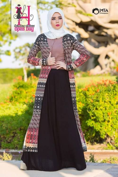 long tribal cardigan hijab look, Winter hijab designs by amazing store http://www.justtrendygirls.com/winter-hijab-designs-by-amazing-store/