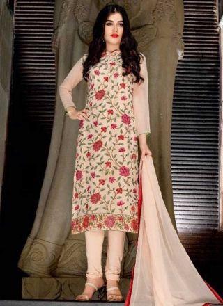 Peach Embroidery Work Georgette Chiffon Silk Designer Fancy Churidar Suit http://www.angelnx.com/Salwar-Kameez/Churidar-Suits