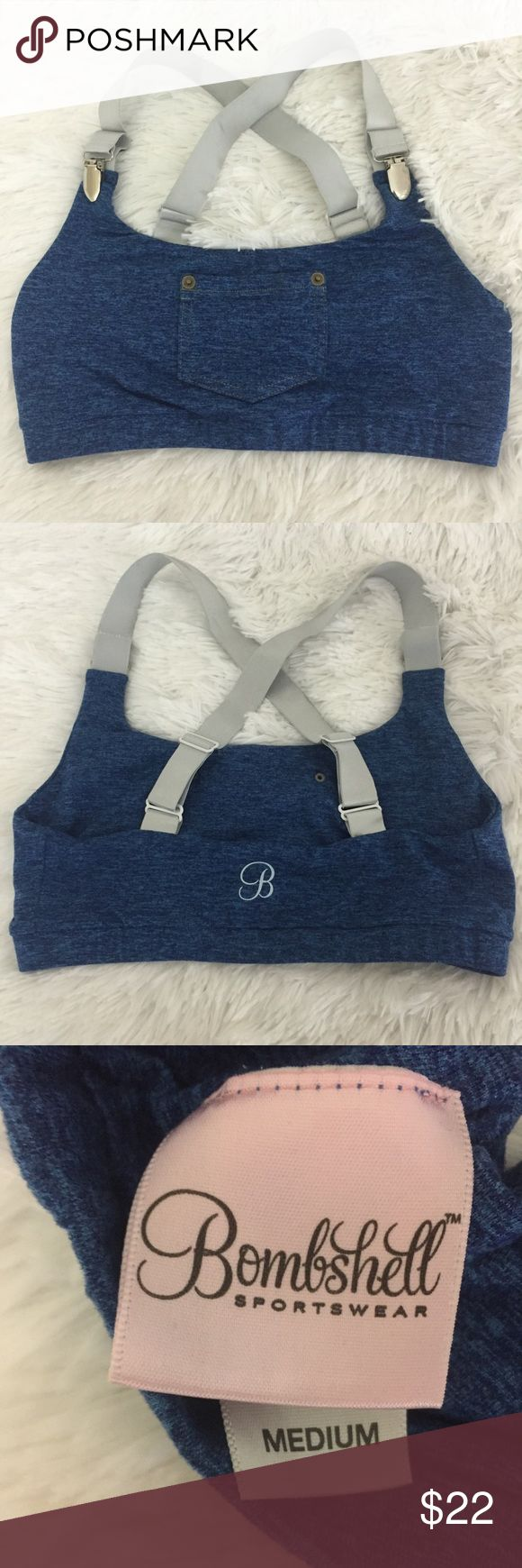 Bombshell sportswear bra top denim style, M This bombshell sportswear sports bra top is in excellent pre owned condition. It was worn once and is like new!! It has a faux denim look with suspended straps and a cute front pocket! Runs true to size. bombshell sportswear Intimates & Sleepwear Bras