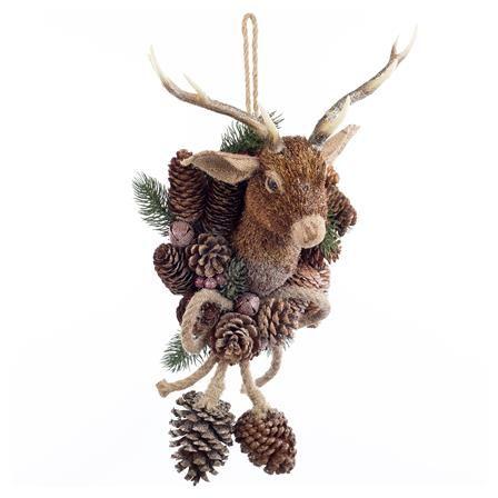 Triflora 47cm Natural Deer Hanger, Brown