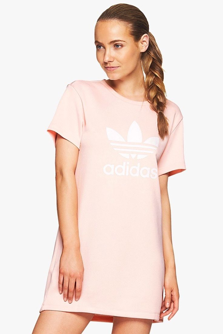 adidas Originals Trefoil Tee Dress in Icey Pink