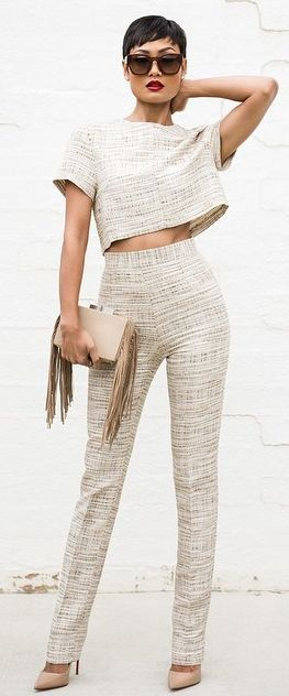 Neutral Twin Set Chic Style by Micah Gianneli