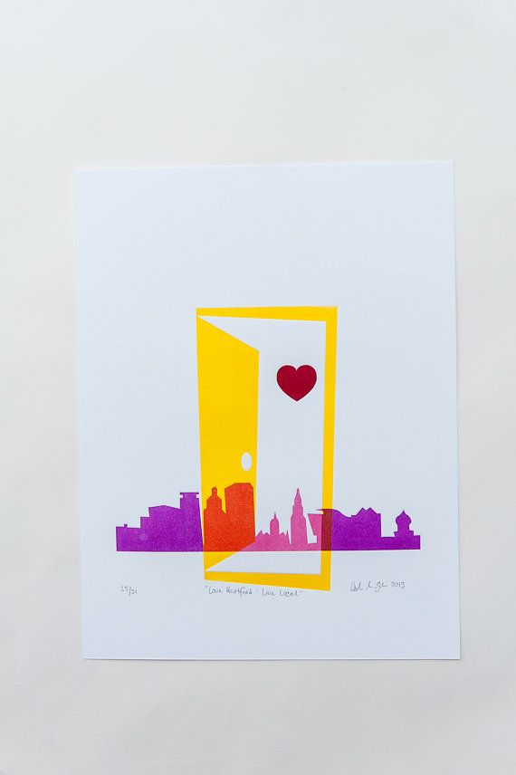 "CT City Collection | ""Live Local Love Hartford"" Letterpress Art Print"