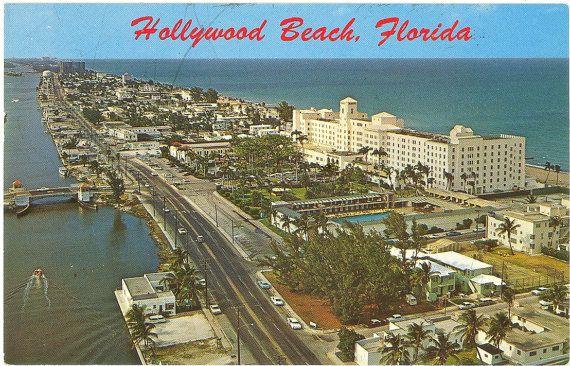 Vintage Florida Beach | Vintage Florida Postcard - Hollywood Beach - Hollywood Beach Hotel ...