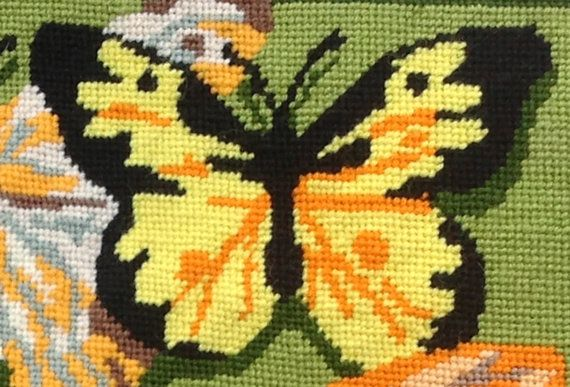 Vintage Needlepoint Butterflies  Retro Cool Colors and Style