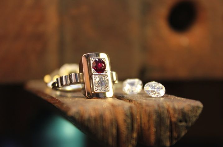 Engagement ring. Art deco. Melbourne designed and made. Rose gold. White gold. Ruby. Diamond. #roseandcrownjewellers #diamond #artdeco #ruby
