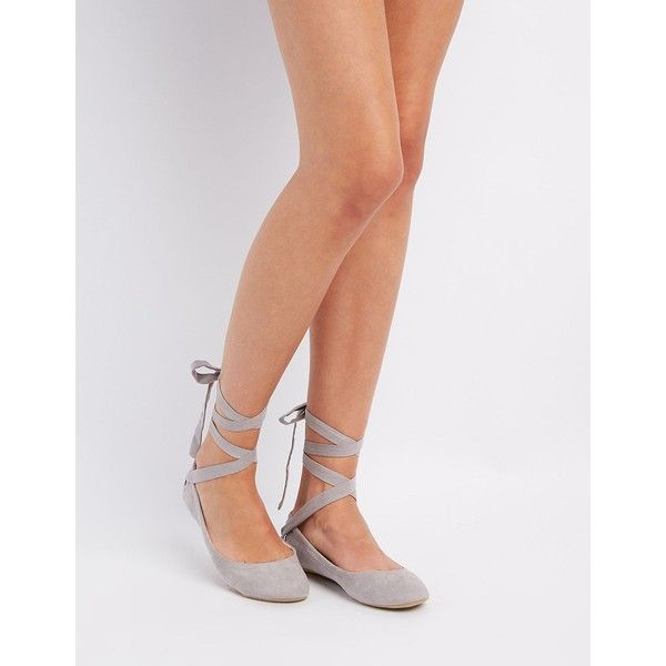 Qupid Lace-Up Ballet Flats ($15) ❤ liked on Polyvore featuring shoes, flats, grey, strappy flats, round toe lace up flats, t-strap flats, lace up pointed flats and gray flats