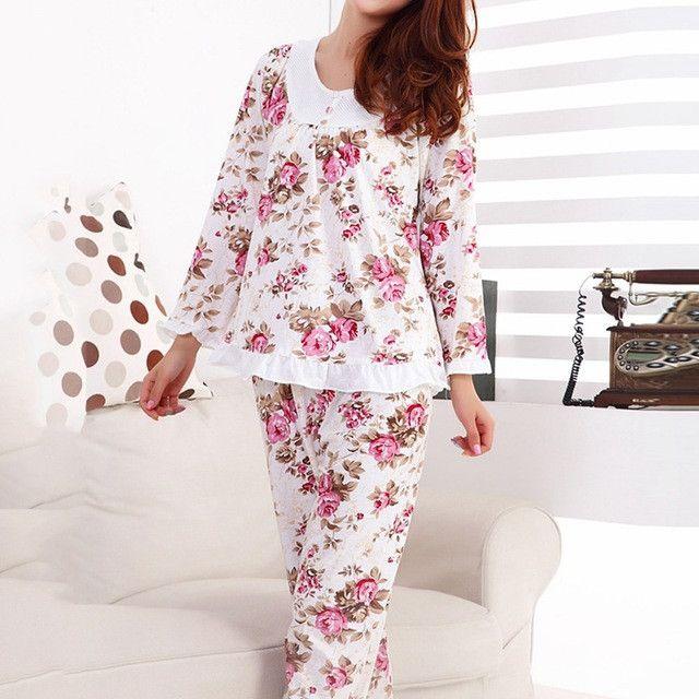 Hot Long Sleeved Ladies Pajamas Set Cotton Pyjamas Women Pijama Mujer Floral Print Sleepwear Homewear Nightgown Asia/Tag M-3XL