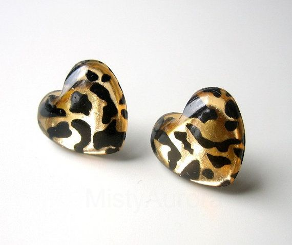 Leopard Print Heart Earring Studs Animal Print Gold by MistyAurora