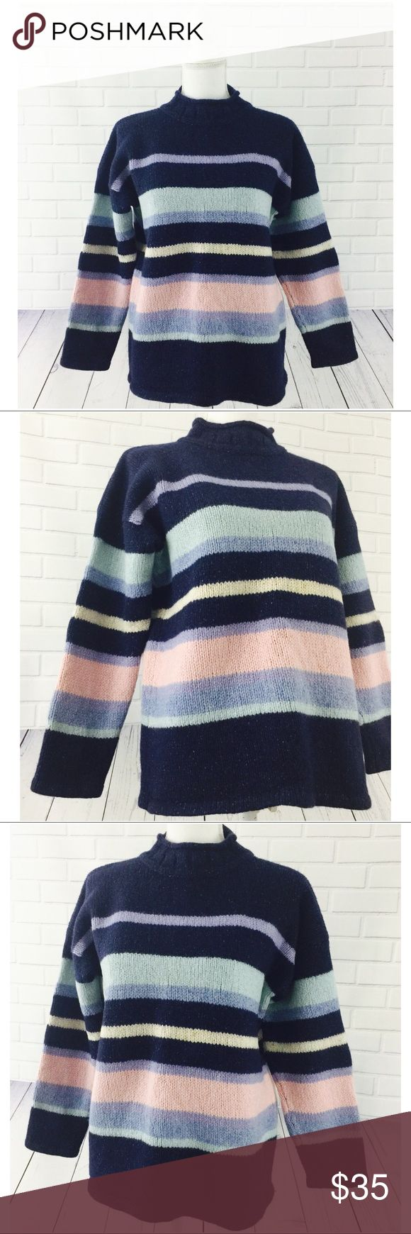 "Ireland's Eye Lambswool Silk Mock Neck Sweater 🔘Entire Closet: 30% Off 2+Items 🔘Specifically Marked Items: 6 for $25 🔘Kids Bundle Special: 5 for $18  ▫️Brand: Ireland's Eye ▫️Size: M ▫️Color: Multicolored ▫️Material: Lambswool, Silk ▫️Condition: Preowned  ▫️Flaws: None  ▫️Description:  •Mock neck •Long sleeves •Multicolored pastel stripes  ▫️Measurements Laying Flat: •Chest: 21"" •Length: 25"" •Shipping Weight: 2lbs  ▪️NO Trade/Hold ▪️Next Day Shipping ▪️Smoke Free/Kitty Friendly Home…"