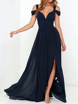 Shop Cold Shoulder Wrap Maxi Prom Dress in Navy from choies.com .Free shipping Worldwide.$36.99