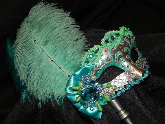 Venetian Masquerade Mask in Aqua Mint and by TheCraftyChemist07, $85.00