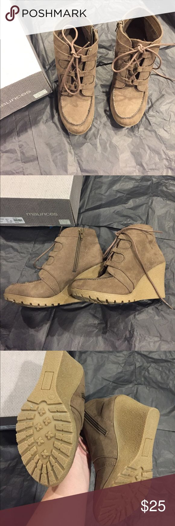 Maurice's wedge booties Tan colored wedge booties, never worn.zipper on the inside of the boot. Will come with box! Maurices Shoes Wedges