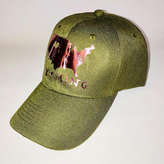 Wyoming Love Metallic Rose Gold Olive Green Baseball Cap
