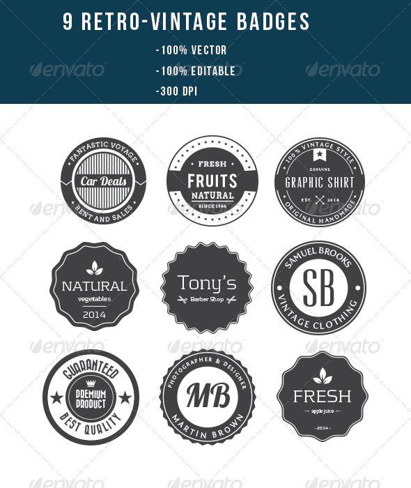 9 Retro Vintage Badges