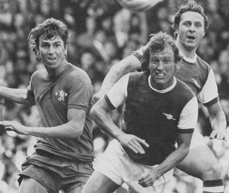 14th August 1971. Chelsea striker Derek Smethurst up against Arsenal duo Bob McNab and John Radford.