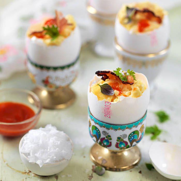 Äggröra & bacon i äggskal